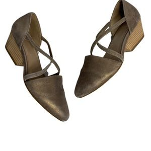 Eileen Fisher Metallic Suede Wedge Sandals Size 9